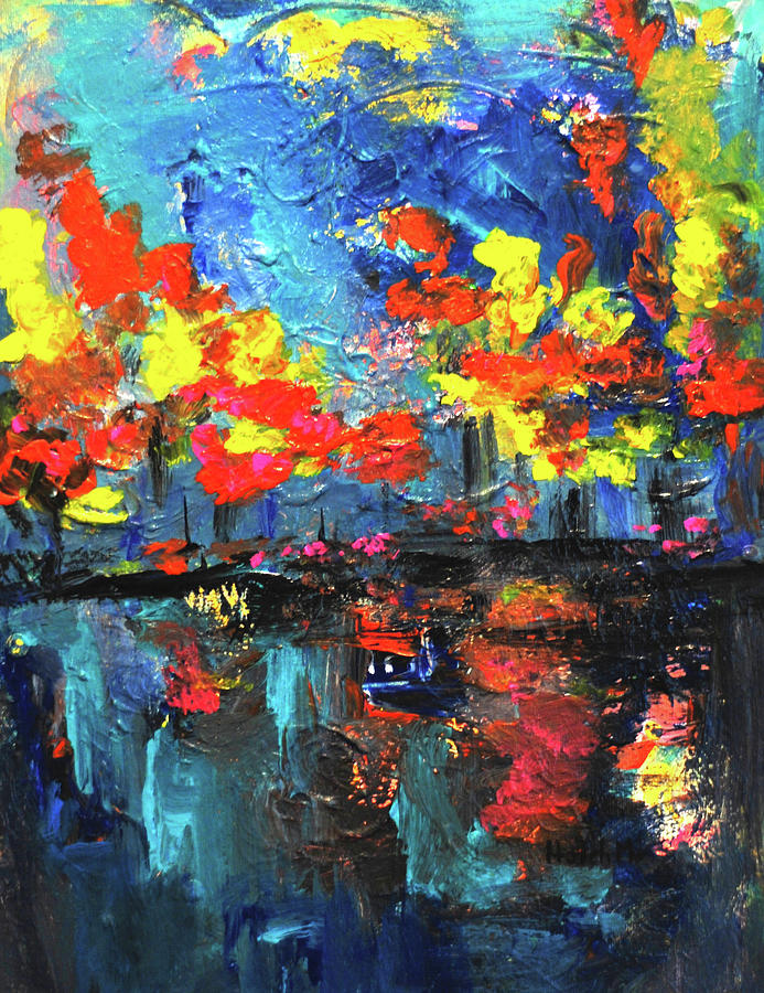 Reflections series - Fall Painting by Haleh Mahbod