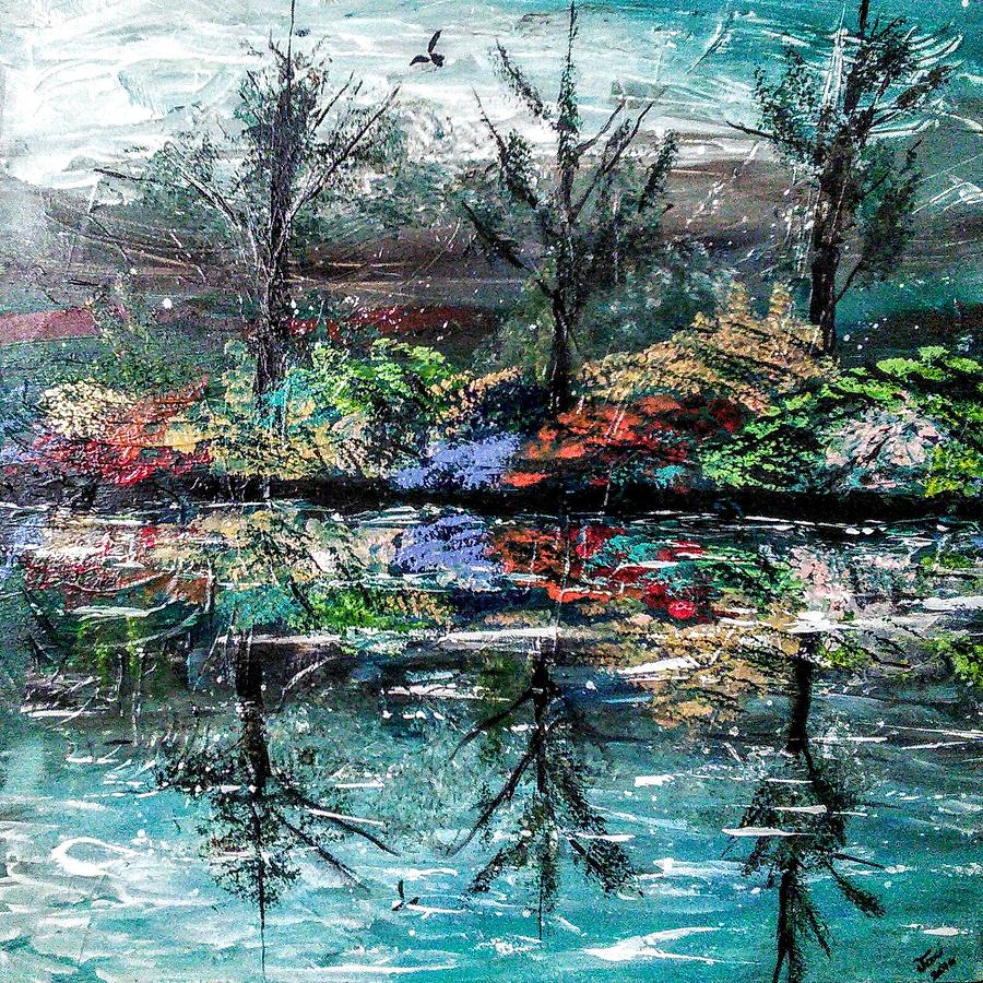 Woods Painting - Reflections by Valerie Josi