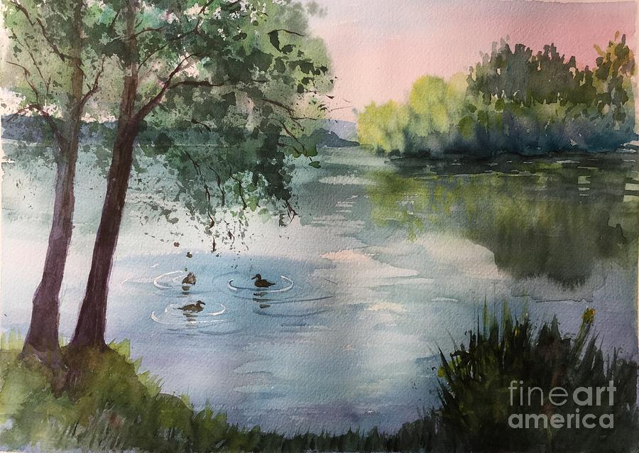 Ducks Painting - Reflections by Yohana Knobloch