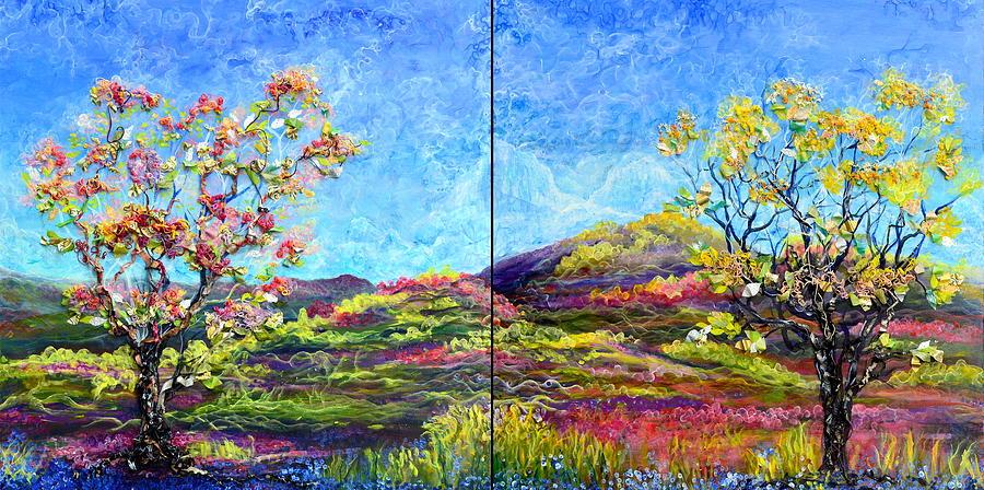 Tree Mixed Media - Refresh And Renew As A Diptych Orientation 1 by Regina Valluzzi