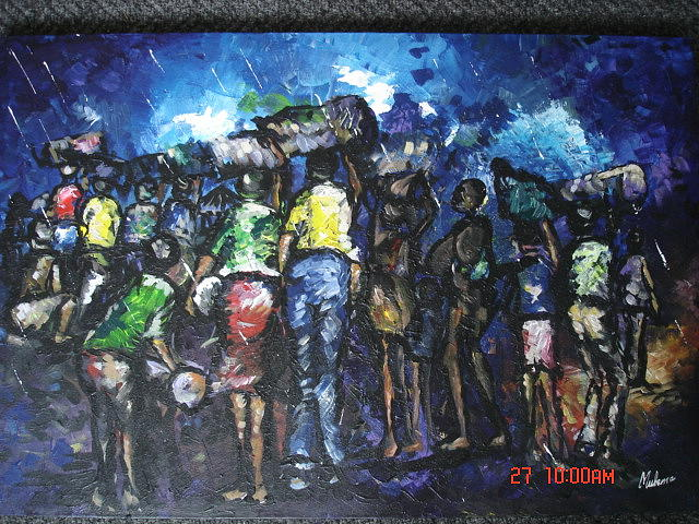 Pappy Painting - Refugees In The World by Muheme BISIMWA