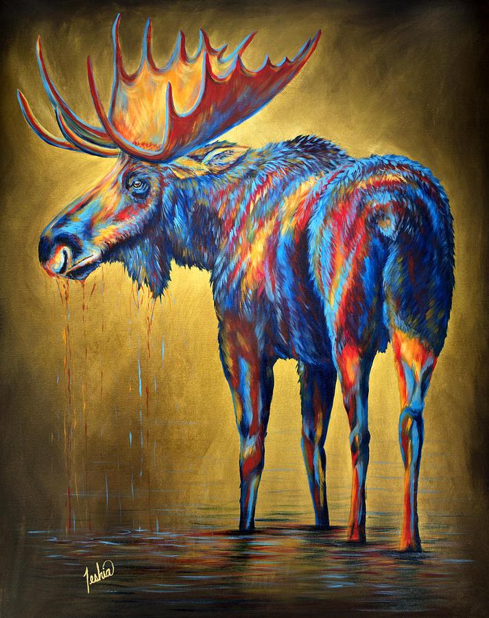 Moose Painting - Regal Moose by Teshia Art