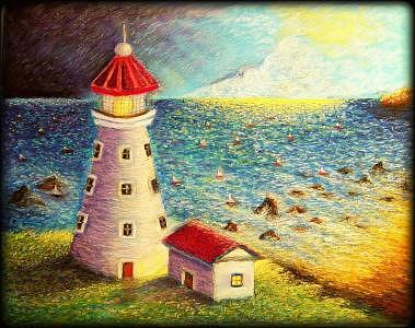 Lighthouse Painting - Regatta At The Cape by Ronald Johnson