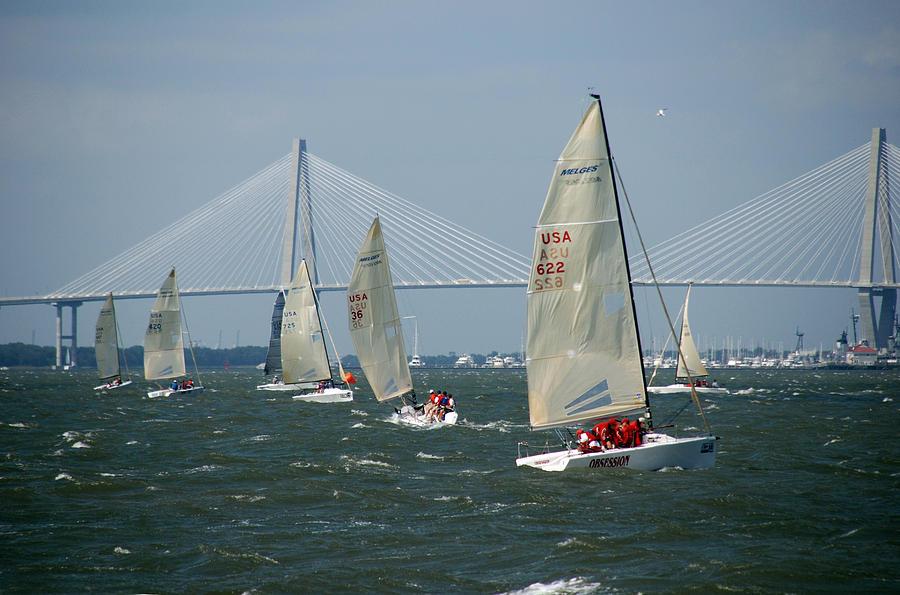Regatta Photograph - Regatta In Charleston Harbor by Susanne Van Hulst