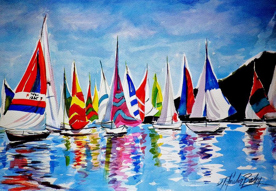 Regatta Painting - Regatta On Lake Almanor by Therese Fowler-Bailey