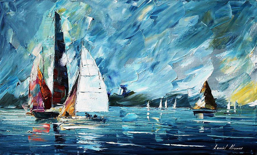 art gallery painting regatta palette knife oil painting on canvas by leonid afremov by