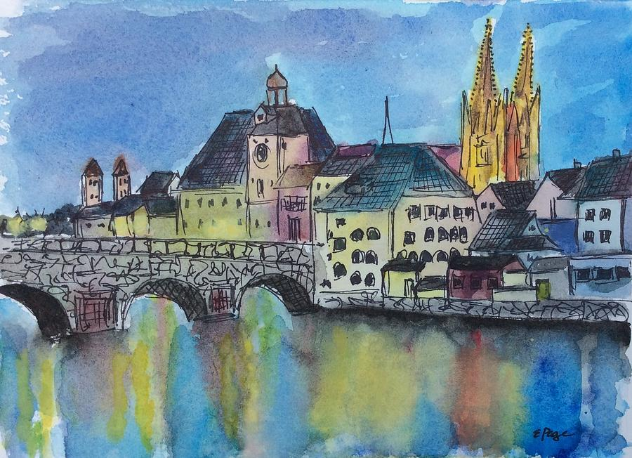 Regensburg Painting - Regensburg at Night by Emily Page