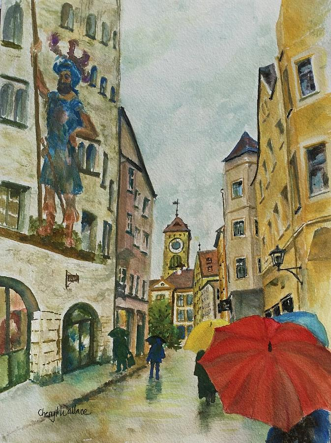 Europe Painting - Regensburg in the Rain by Cheryl Wallace