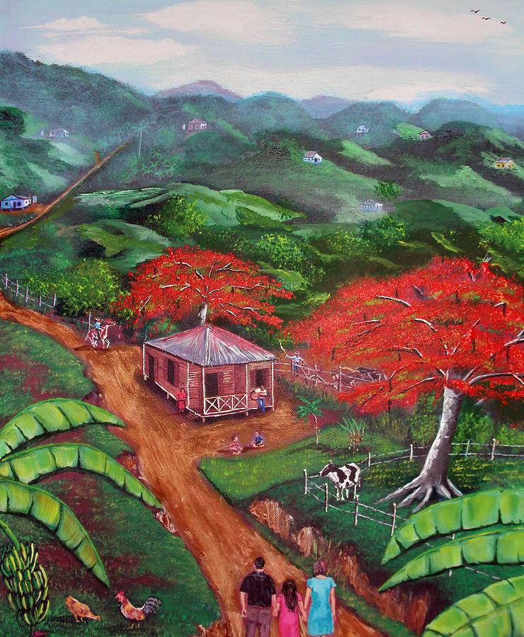 Flamboyan Painting - Regreso Al Campo by Luis F Rodriguez