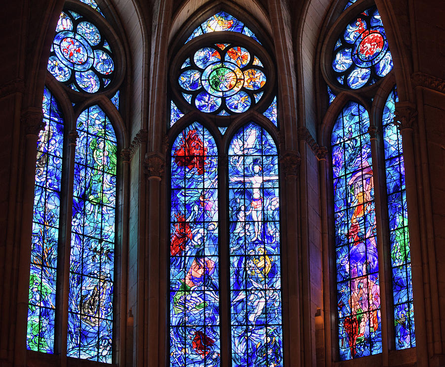 Reims Photograph - Reims, France, Cathedral, Marc Chagall Stained Glass windows by Curt Rush