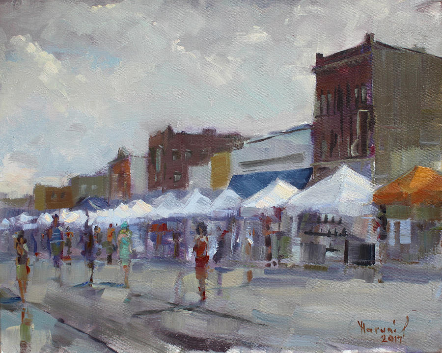 Rein Painting - Rein And Sun At Canal Fest In North Tonawanda by Ylli Haruni