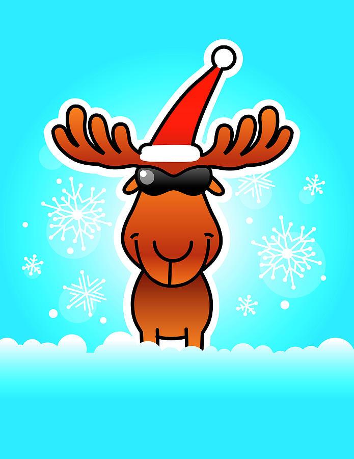 Reindeer Wearing Santa Hat And Sunglasses Digital Art by New Vision Technologies Inc