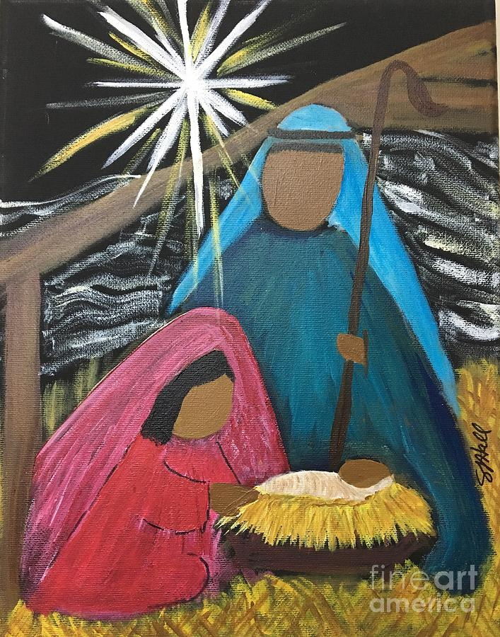 Nativity Painting - Rejoice A Child Is Born by Sheila J Hall