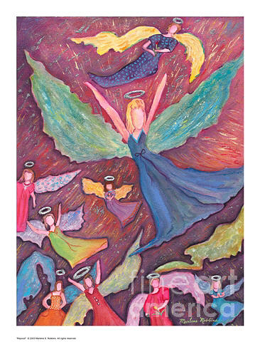 Angels Painting - Rejoice by Marlene Robbins