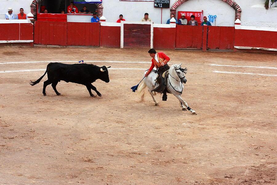 Sports Photograph - Rejoneador And The Bull, San Miguel De Allende by Robert  McKinstry