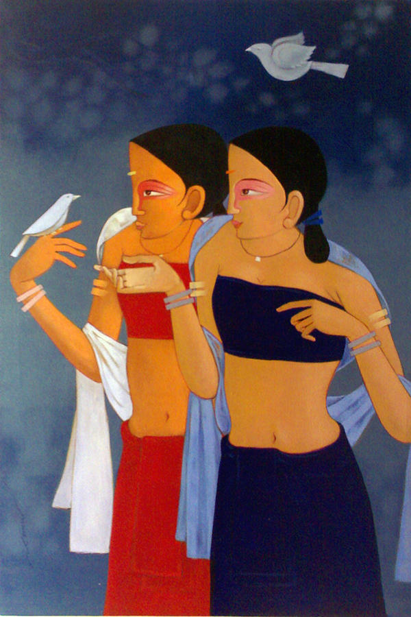Painting Painting - Relation by Chandrashekhar Kumavat