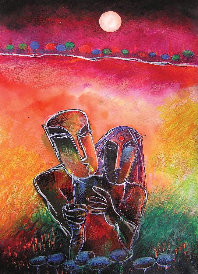 Figurative Painting - Relation by Shantanu Mitra