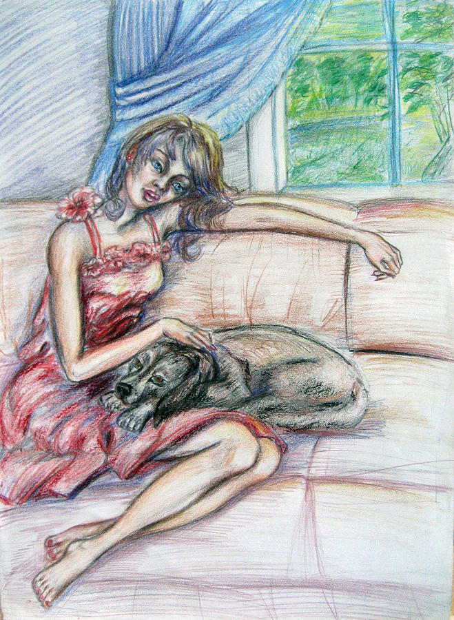 Drapes Painting - Relaxation  by Yelena Rubin