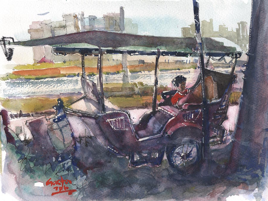 Tuk Tuk Painting - Relaxed Tuk Tuk In Phnom Penh by Gaston McKenzie
