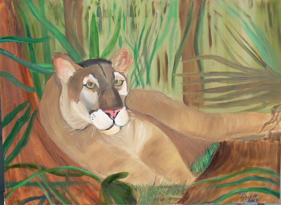 Cougar Painting - Relaxing After A Hard Day by Donald Schrier