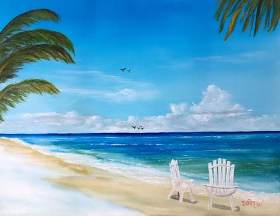 relaxing at the beach painting by lloyd dobson