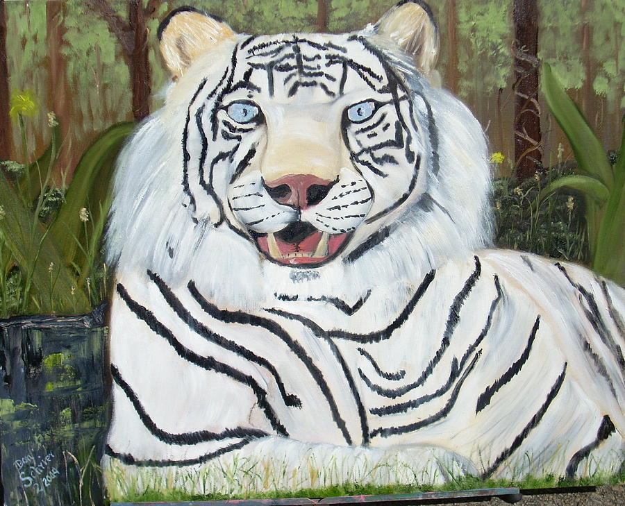 Tiger Painting - Relaxing In The Grass by Donald Schrier