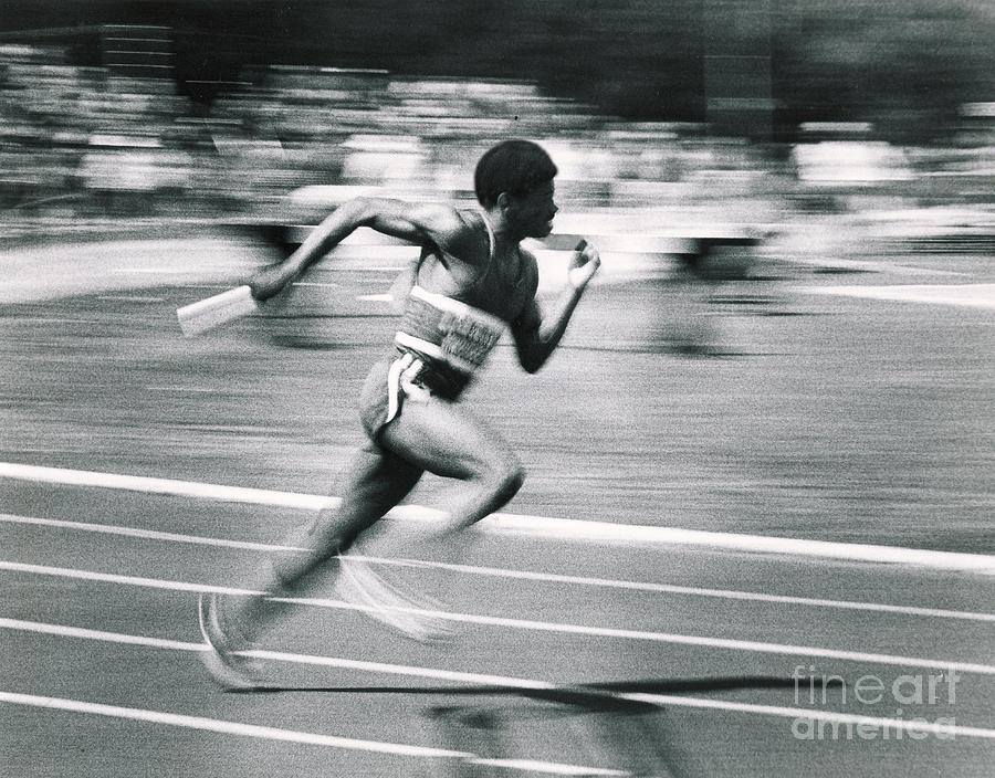 Track Photograph - Relay Runner by Jim Wright