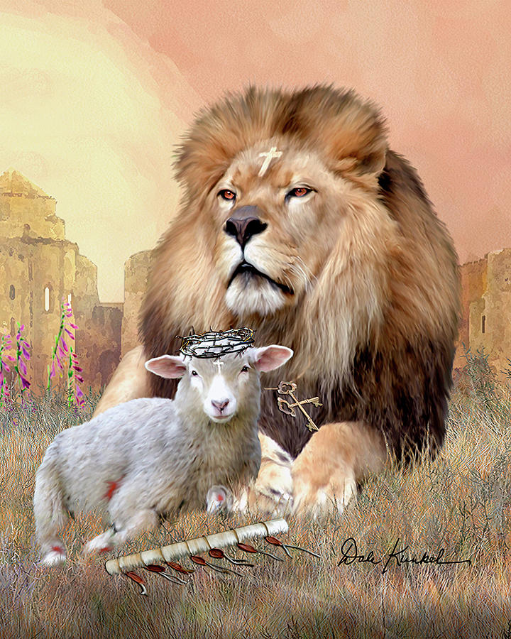 Religious Wall Art Featuring Lion Of Judah Lamb Of God II Painting By Dale  Kunkel Art