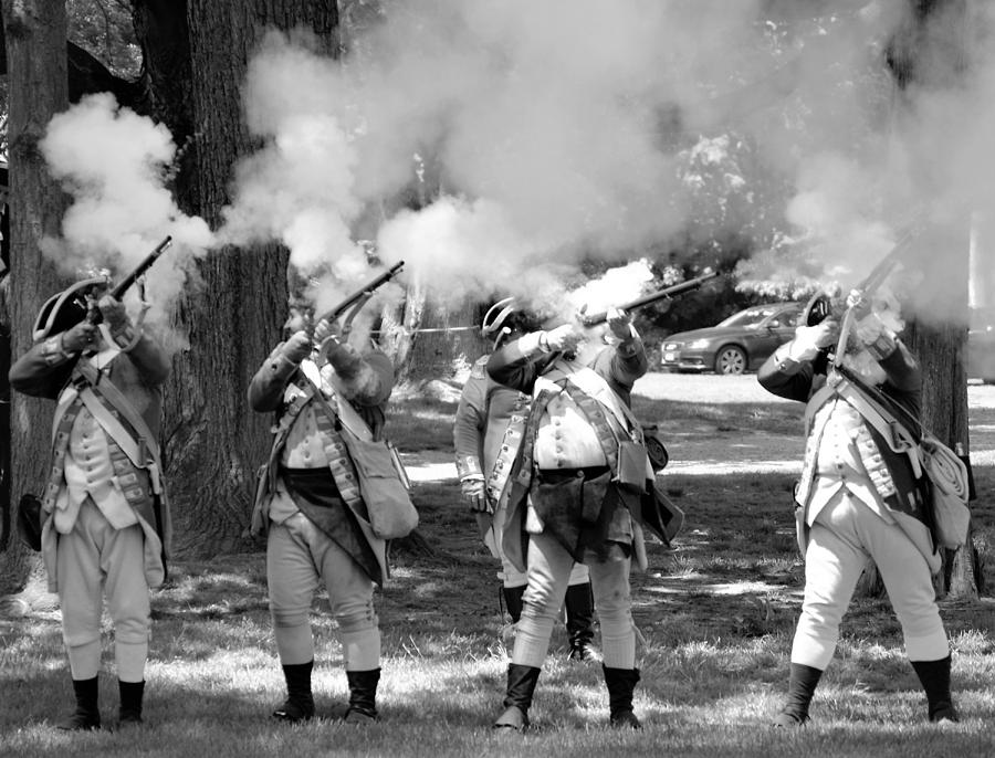 Colonial Photograph - Reliving History-bw by Charles HALL