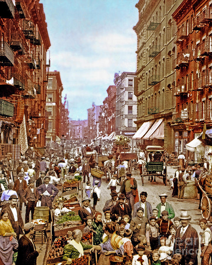 Remastered Photograph Mulberry Street Manhatten New York