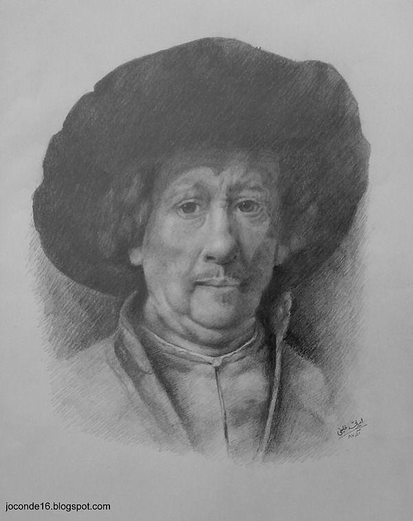 Portrait Drawing - Remberandt Self Portrait by Amir Khalify