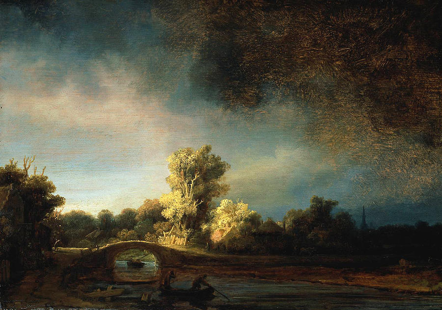 Rembrandt Landscape Painting - Rembrandt Landscape Paintings - The Stone Bridge by Rembrandt