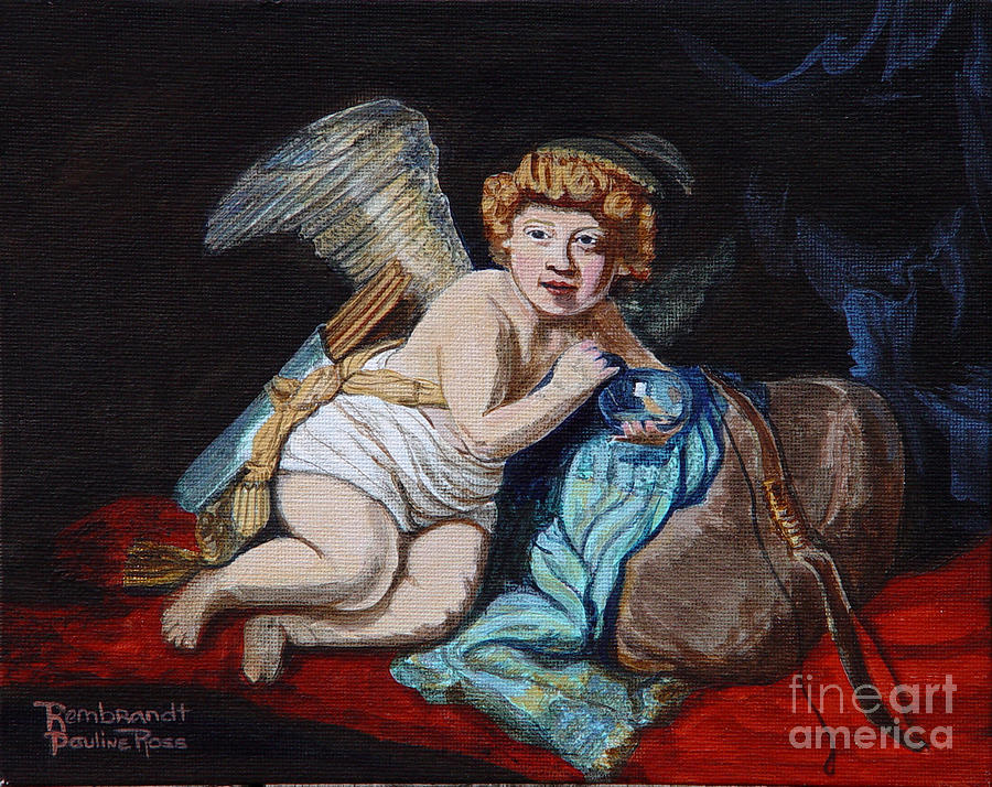 Cupid Painting - Rembrandts Cupid With A Soap Bubble With My Sons Face. by Pauline Ross