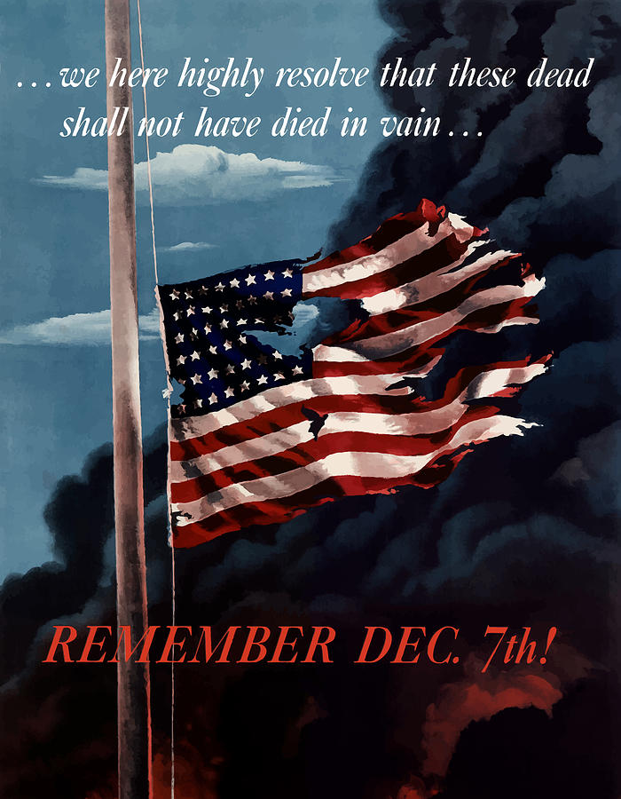 American Flag Painting - Remember December Seventh by War Is Hell Store