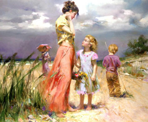 Beach Painting - Remember When - Sold Out From Publisher by Pino Daeni