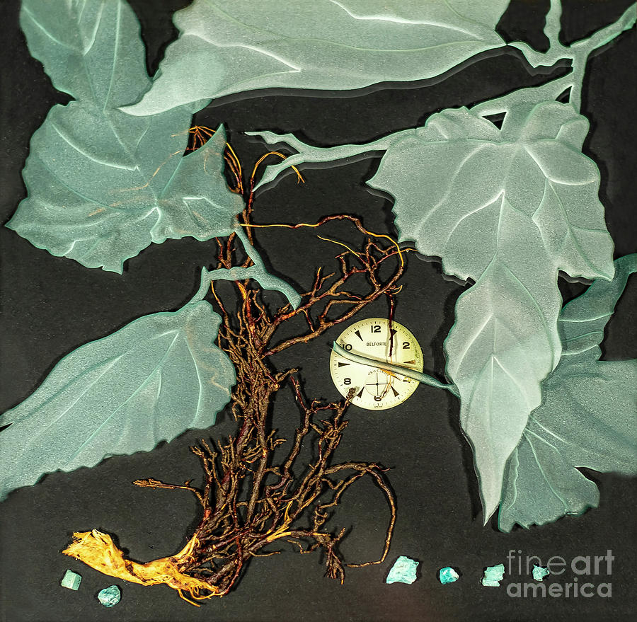 Leaves Glass Art - Remembrance Iv by Alone Larsen