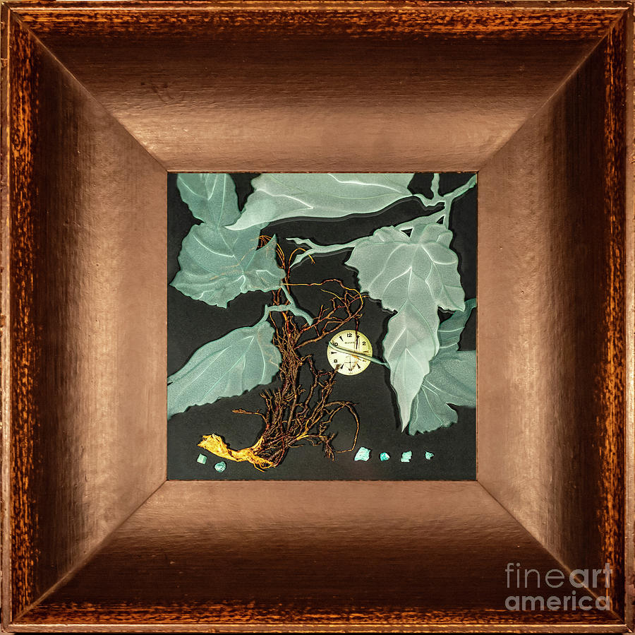 Leaves Glass Art - Remembrance IV with Frame by Alone Larsen