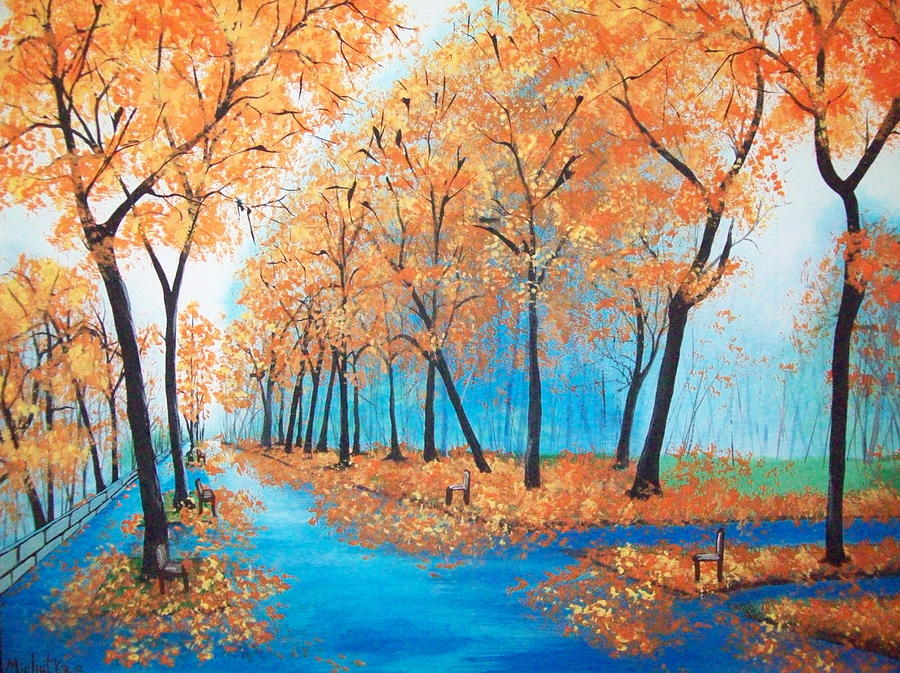 Folk Painting - Remembering Autumn by Susan Michutka