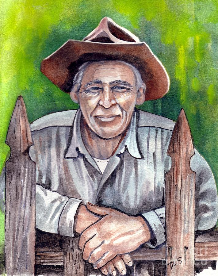 Farmer Painting - Remembering by Val Stokes