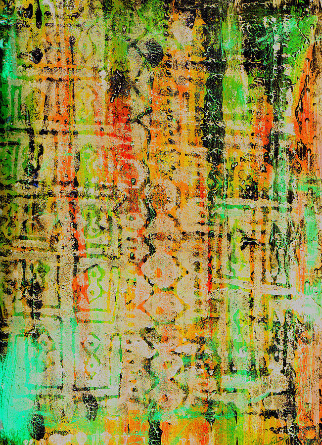Monoprint Painting - Remnants Of The Homeland by Wayne Potrafka
