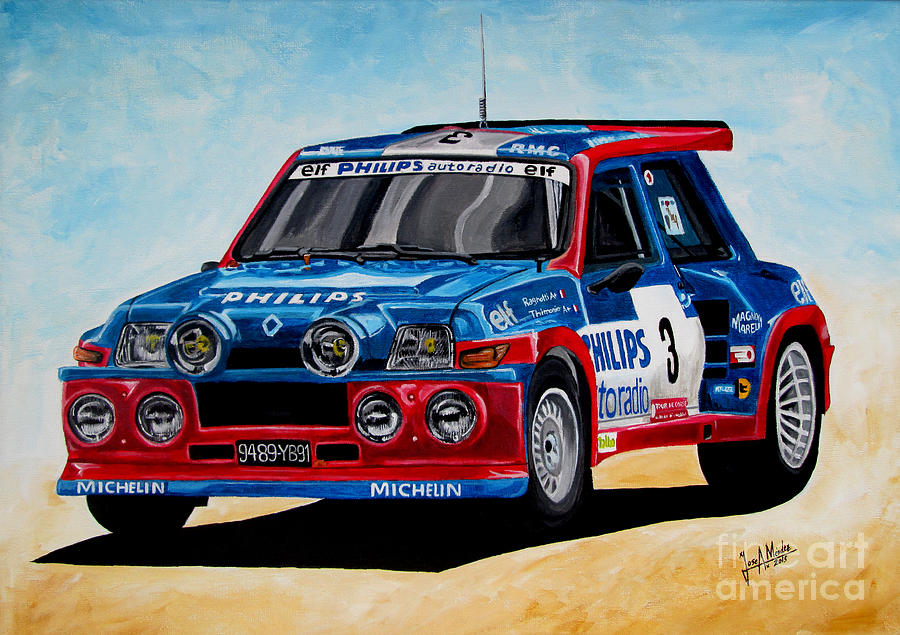 Rally Painting - Renault 5 Maxiturbo by Jose Mendez