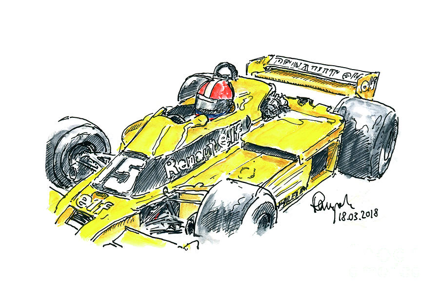 Renault Rs 01 2 Turbo F1 Racecar Front Ink Drawing And Watercolo Drawing By Frank Ramspott