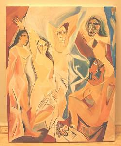 Picasso Cubism Painting - Rendering Picasso Les Demoiselles Davignon by Gina Brake