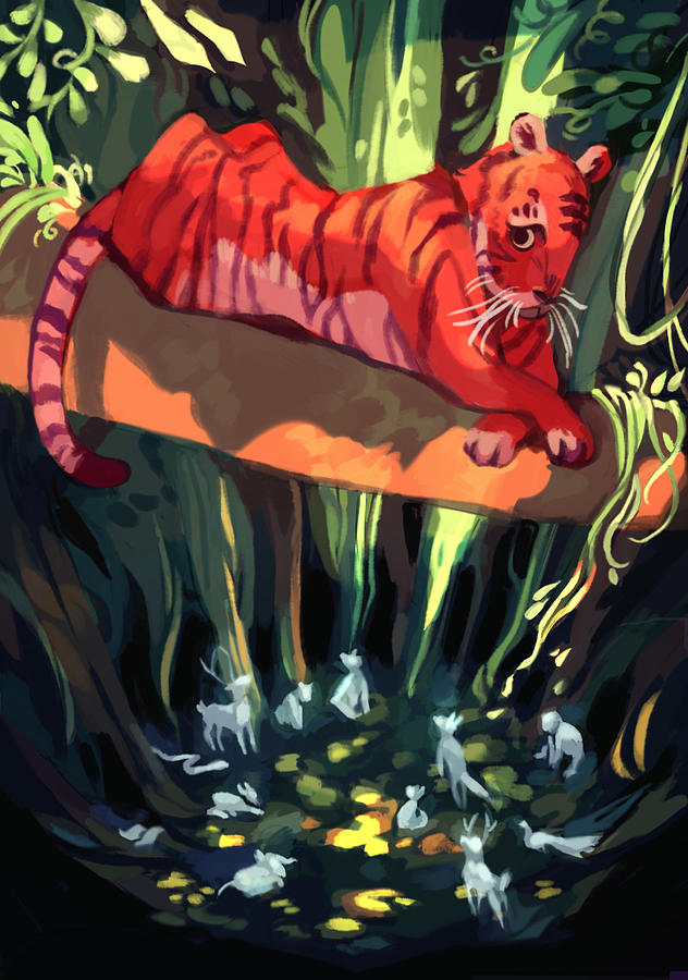 Tiger Digital Art - Rendezvous by Ellan Suder
