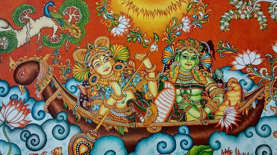 Rendezvous on the lake kerala mural painting painting by for A mural is painted on a