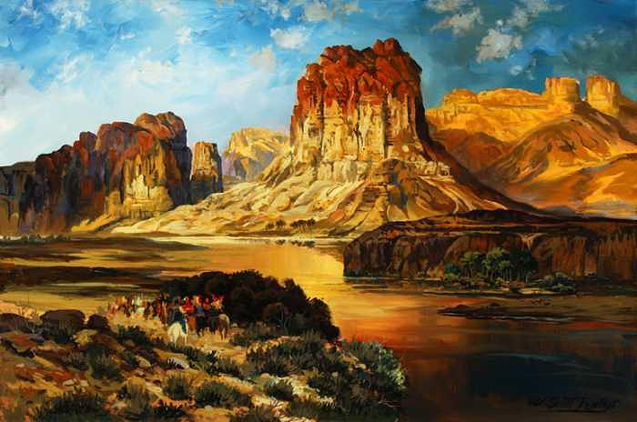 Rendition of The Green River  Thomas Moran Painting by W  Scott Fenton