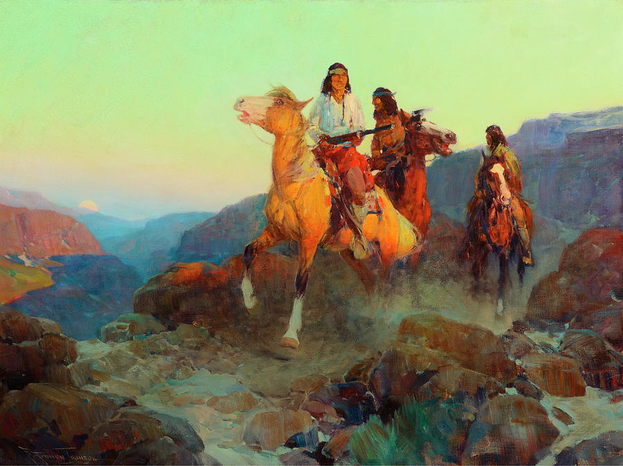 Renegade Painting - Renegade Apaches by Frank Tenney Johnson