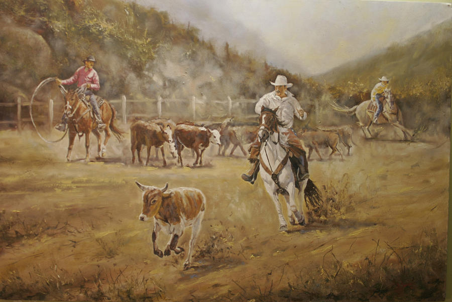 Cowboys Painting - Renegade by Jason  Swain
