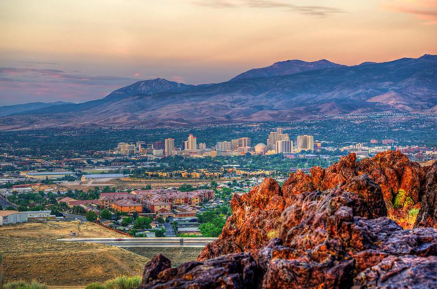 Landscape Photograph - Reno Nevada Cityscape At Sunrise by Scott McGuire