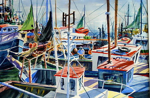 Boats Painting - Repairing The Nets by John Fitzgibbon